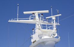 Ship's Antenna. Ships antenna and navigation system in a clear blue sky Stock Photos