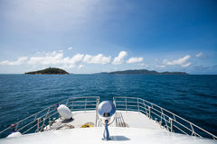 Ship's bow to the sea. A ship bow against  blue sky and sea Stock Photography