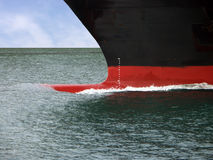 Ship's bow in water. Ship's bow ploughing through the sea Royalty Free Stock Images