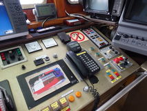 A ship's bridge with controls panel. Royalty Free Stock Photo