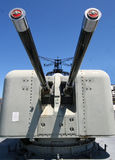 Ship's cannons. Cannons on a war ship stock images