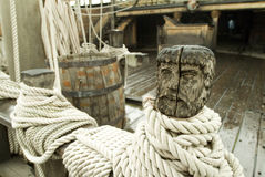 Ship�s deck with carved head and rope stock image