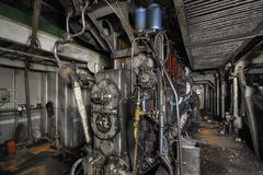 The ship's hold with diesel engine mounted on ship Stock Images