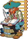 Ship's journal. The illustration presented a pirate captain.He sits on the barrel and makes an entry in the logbook.Illustration done in cartoon style Stock Photos