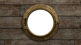 Ship's Porthole - Isolated. A vintage style, brass Port hole set in rough wood. The window is isolated in white so you can add your own image Stock Photo
