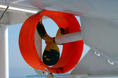 Ship's propeller. On the lifeboat on the ferry Royalty Free Stock Photos