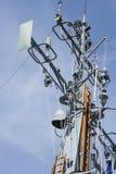 Ship's radio mast. Modern warship communications mast with blue sky background Stock Image