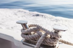 Ship`s ropes on the yacht in Ligurian Sea, Italy. Close Up Stock Image