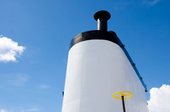 Ship`s smokestack against blue sky Royalty Free Stock Photography
