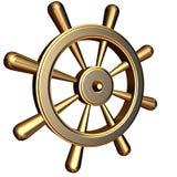 Ship's steering wheel. 3d rendering of golden ship's steering wheel Royalty Free Stock Photo