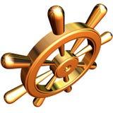 Ship's steering wheel. 3d rendering of golden ship's steering wheel Stock Photos