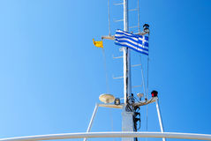 The ship's Tower with the Greek flag Stock Photography