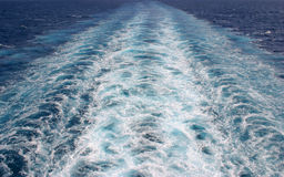Ship's Wake. The wake of a large cruise ship Royalty Free Stock Photo