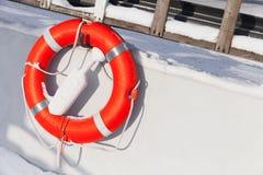 Ship safety equipment, orange lifebuoy Royalty Free Stock Photo
