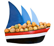Ship with sail transportation  cargo melon. Royalty Free Stock Images