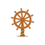 Ship, sailboat steering wheel, cartoon vector illustration Royalty Free Stock Images