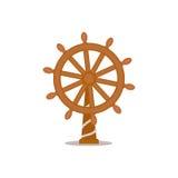 Ship, sailboat steering wheel, cartoon vector illustration. Isolated on white background. Cartoon, comic style vector illustration of traditional wooden ship Royalty Free Stock Images