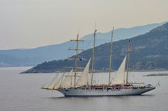Seascape. Sailing vessel - Aegean Sea, Thassos, landmark attraction in Greece Royalty Free Stock Image