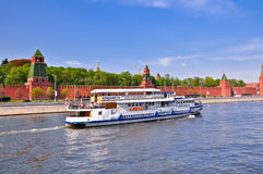 Ship, sailing  the background of the Kremlin. Stock Image