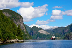 Sailing in Bergen Fjord Royalty Free Stock Images