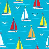Ship sailing boat sea seamless pattern vessel travel vector sailboats marine background. royalty free illustration