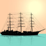 Ship sailing boat silhouette isolated on white Stock Photo