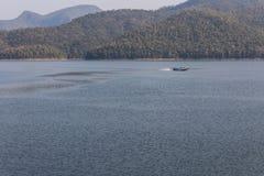Ship sailing at Mae Ngad dam in Chiangmai Thailand Royalty Free Stock Image