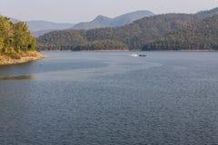 Ship sailing at Mae Ngad dam in Chiangmai Thailand Royalty Free Stock Photography