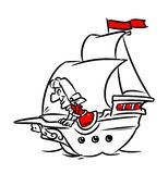 Ship sailing Marine pioneer traveler cartoon illustration Stock Photo