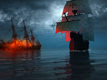 Ship sailing near a wreck. Old ship sailing near a blazing wreck Stock Images