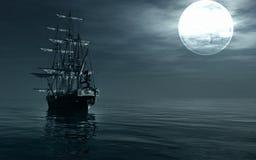 A ship sailing at night vector illustration