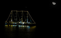 Ship Sailing at night Royalty Free Stock Photography