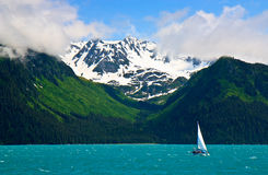 Ship sailing in Resurrection Bay, Alaska Stock Photography