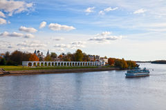 Ship sailing on the river, Novgorod, Russia Stock Images