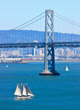 Ship sailing in San Francisco Bay Royalty Free Stock Images