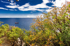 Ship sailing in the sea. And trees in the foreground stock photo