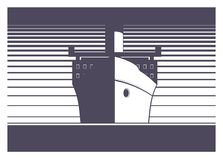 Ship sailing simple illustration Royalty Free Stock Images