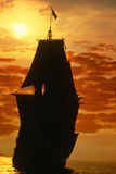 A ship sailing at sunrise as a Mayflower historic recreation Search For a New World Royalty Free Stock Image