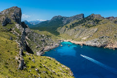 Ship sailing to bay in Cap Formentor Mallorca. Ship sailing to bay in Cap Formentor, Mallorca, Balearic Islands, Spain Royalty Free Stock Image