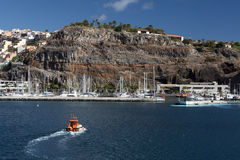 Ship sailing to the port. Of Gomera Island Stock Photos
