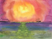 Ship Sailing to the Shore with palm trees under the sun. royalty free illustration
