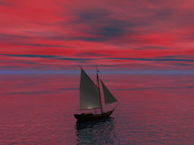 Ship Sailing toward Horizon Royalty Free Stock Photography