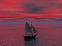 Ship Sailing Toward Horizon Royalty Free Stock Photography