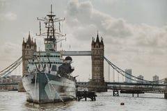 Ship Sailing on Tower Bridge Royalty Free Stock Image