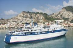 Ship sailing in Zante coast on Zakynthos island Royalty Free Stock Image