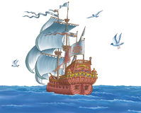 The ship with sails. The seagull fly Stock Photo
