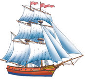 The ship with sails. The red ship sailing with three masts Stock Images