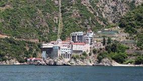 Ship sails along peninsula of Athos Royalty Free Stock Image