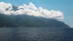 Ship sails along peninsula of Athos Stock Photo