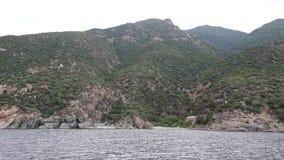 Ship sails along peninsula of Athos Royalty Free Stock Photo